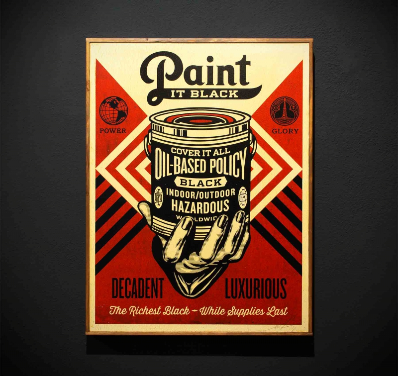 positive-propaganda x shepard fairey paint it black hand
